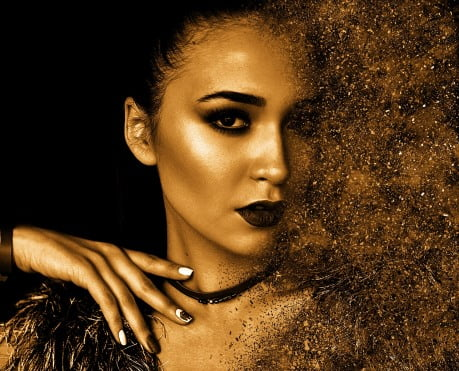 Woman with glitter overlay